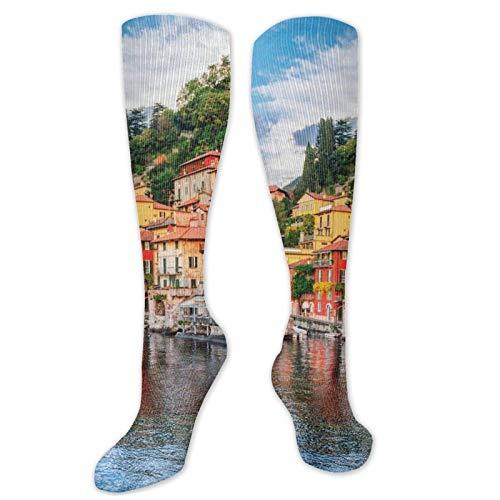 FJXXM Calcetines De Deporte,Calcetines Hasta La Rodilla Del Río Del Yate De Italia, Calcetines Ligeros Casuales De Las Mujeres Para El Funcionamiento Deportivo 50cm
