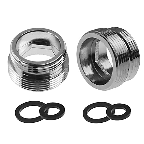 2 adaptadores de grifo de metal, rosca macho de 22 mm a rosca macho de 18 mm, conector de aireador de latón para baño, cocina y purificador de agua