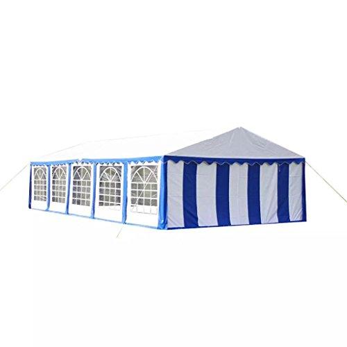 vidaXL Toile de Rechange pour Tente de Réception Bleu Blanc Bâche pour Tente