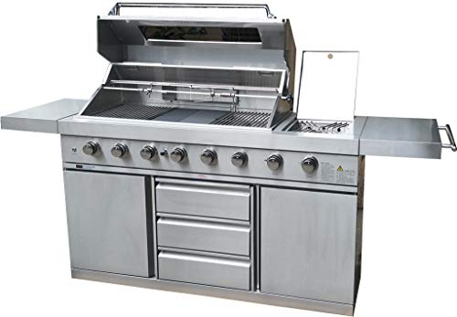 MCP Island Grills Stainless Steel Propane or Natural Gas BBQ Grill, with 8 Burners, Infrared Sear Burner, Rotisserie, Side Tables and Free Protective Cover Grills Propane