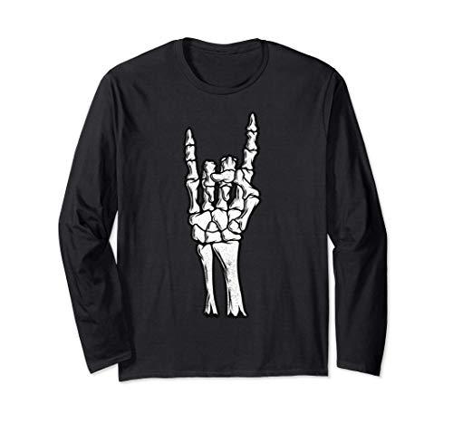 Brazo esquelético gótico Rock Hand Devil Camiseta Halloween Manga Larga