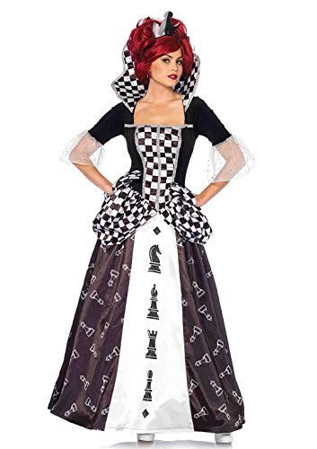 LEG AVENUE 85572 - Kostüm Set Wunderland Schach-Königin, Damen Fasching, L, Schwarz/weiß