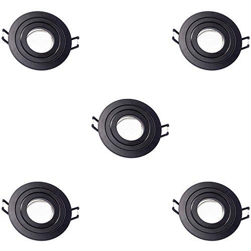 Wonderlamp W-E000115 Pack De 5 Unidades Empotrable Redondo Basculante, Negro,
