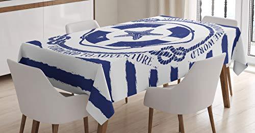 ABAKUHAUS Estrella de mar Mantele, Salvavidas de Viaje, Fácil de Limpiar Colores Firmes y Durables Lavable Personalizado, 140 x 170 cm, Azul Marino Blanco