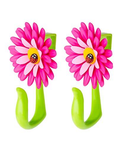 VIGAR Flower Power Gancho para Puerta, Rosa y Verde, Dimensiones: 8 x 5 x 12,5 cm, 2 Unidades