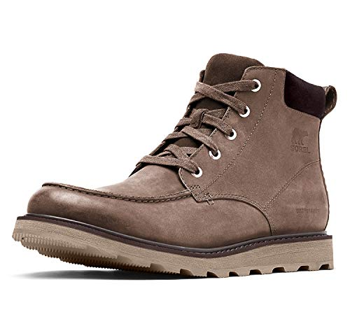 Sorel Men's Madson Moc Toe Waterproof Boots, Major/Buffalo, Grey, Brown, 10 Medium US