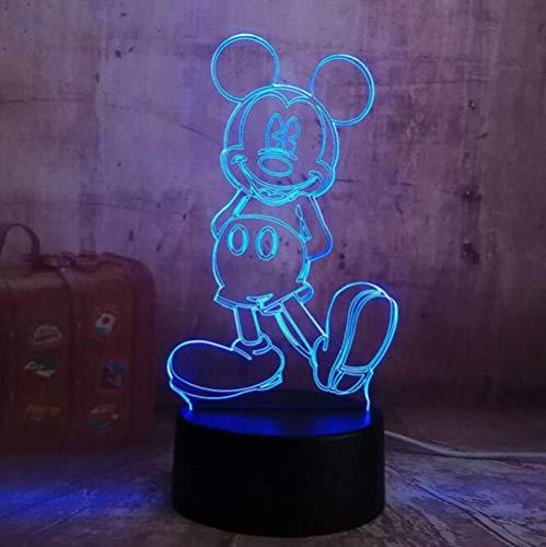 Veilleuse 3D Lampe De Table LED Mickey Mouse Jouer Au Football Rgb 7 Couleurs Anniversaire Chambre Décoration Cadeau De Noël Pour Enfants