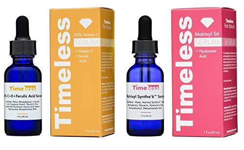Timeless Skin Care 20% Vitamin C+E Ferulic Acid & Matrixyl Synthe'6 Set - 1 of Each 30ml / 1oz size - Authorised UK seller