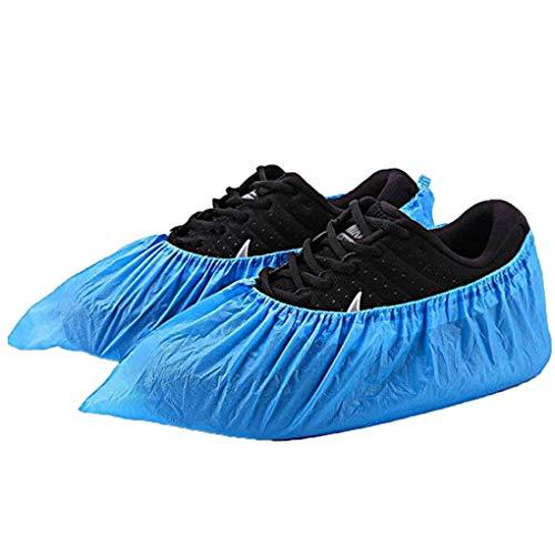 Skxinn 100x Einweg Überziehschuhe - Plastik Schuhüberzieher - Einmal-Schuh wasserdicht - Überschuhe in Einheitsgröße (100 Stück=50 Paare) Sale(Blau,100Pcs)