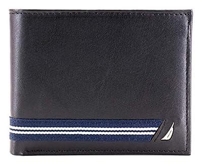 Nautica Men's NU Leather Flip ID Window Ribbon Passcase Wallet Black