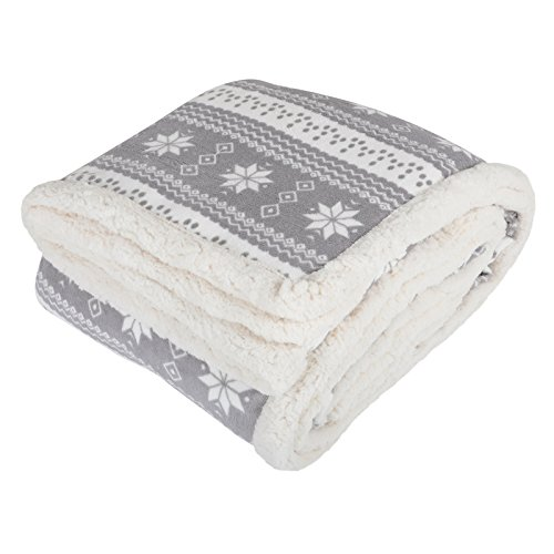 Micro-Pro Grey Snowflake Design Fleece Blanket Soft Sherpa Sofa Bed...