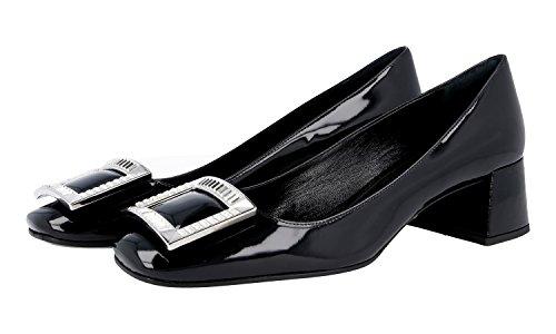 Prada Women's 1I913F 069 F0002 Black Leather Pumps/Heels US 7 / EU 37