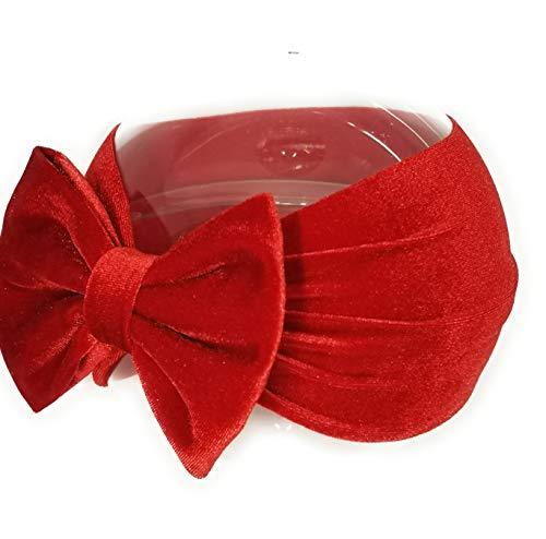 Fascia per capelli neonata ( da 3 a 18 mesi) - Fascetta Turbante Paraorecchie in morbido velluto con fiocco Rosso