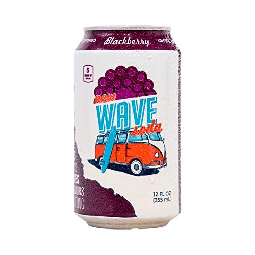 New Wave Soda Natural Soda Canned Fruit Juice, Blackberry, Healthy Soda Caffeinated Sparkling Water | Vegan, Keto, Gluten Free Soft Drink, No Added Sugar or Artificial Flavors, Recyclable, 12 Pack