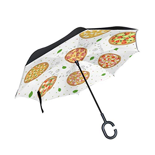 SHNUFHBD Inverted Umbrella Seamless Italian Tasty Pizza Umbrella Windproof UV Protection Waterproof...