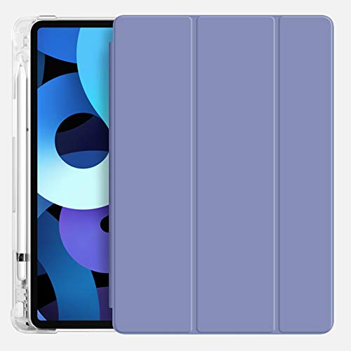 ZOYU iPad Air 4 Case with Pencil Holder 2020,Ultra-thin and Lightweight Smart Trifold Stand Transparent TPU Soft Silicone Cover,Auto Sleep/Wake for iPad 10.9 inch Air 4th Generation (Lavender)