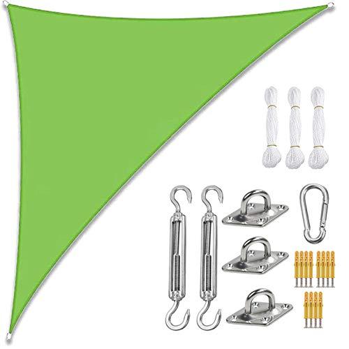 Toldo De Vela De Sombra Solar, Bloque UV, Impermeable, Toldo De Vela De Sombra Solar para Patio Al Aire Libre, Jardín con Cuerdas, Triángulo Recto (3 * 3 * 4.3m,Verde)