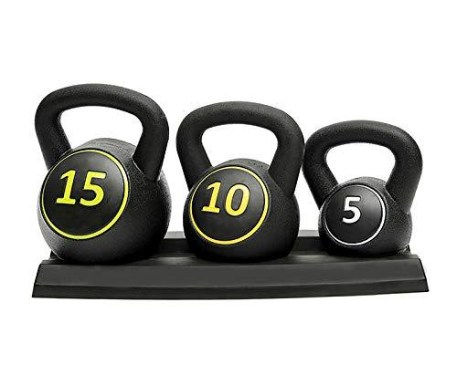 Kettlebells Set,3pce Kettlebell Weight Set with Stand - 5, 10 & 15lbs (2.3kg, 4.5kg & 6.8 kg)