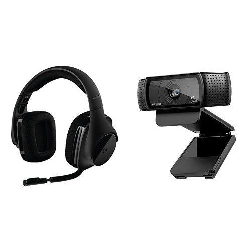 Logitech G533 Cuffie da Gioco, Audio Surround Wireless DTS 7.1 + C920 HD Pro WebCam Full HD 1080p con Autofocus e Microfono Integrato