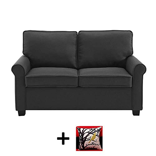 Mainstay Sofa Sleeper with Memory Foam Mattress | No-Tool Easy Assembly, Black + Free Decorative Pillow Cover
