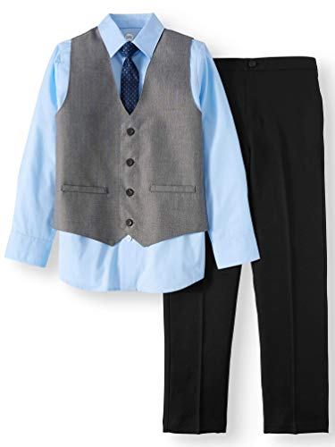 Wonder Nation Boys' 4-Piece Dress Outfit with Sharkskin Vest, Blue Dress Shirt, Skinny Tie and Black Pull-On Pants (5)