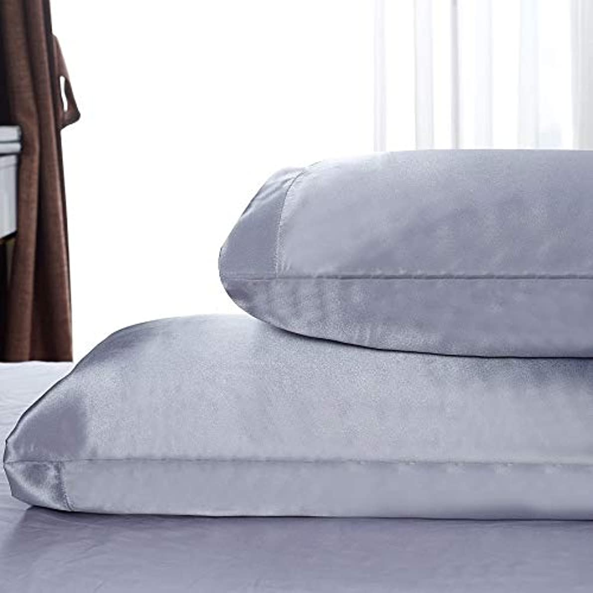 Satin Pillowcases Two Pack Queen - Satin Pillowcases Set of 2 for Hair Envelope Closure 20x30 Grey, Machine Washable