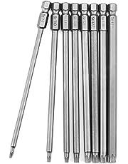 JTENG 8 stycken 150 mm torx bits skruvmejsel set extra lång och magnetisk T8-T40 1/4 tum sexkant axel elektrisk skruvmejsel verktyg