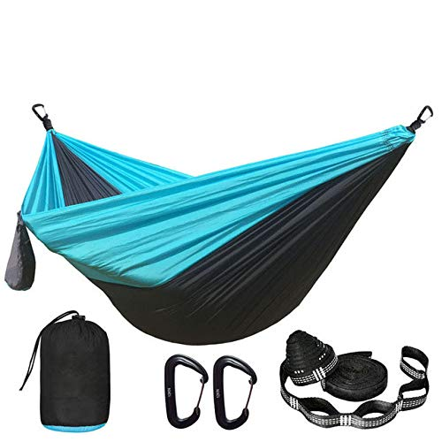 FENGSZ Camping Parachute Hammock With Hammock Straps And Aluminum Carabiner 260Cm*140Cm,Bearing 500 Lbs,For Outdoor, Yard,Dark Grey And Blue
