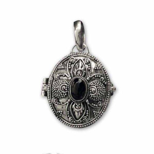 Ovaler Giftanhänger Onyx zum öffnen 925er Silber Schmuck etNox mit Lederband