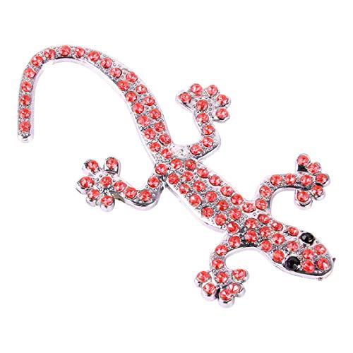 Calcomanías adhesivas corporales Decoración de coches Calcomanía de la pared de la pared del coche 3D Etiquetas engomadas de gecko con diamante rojo, adecuado para la mayoría de los coches