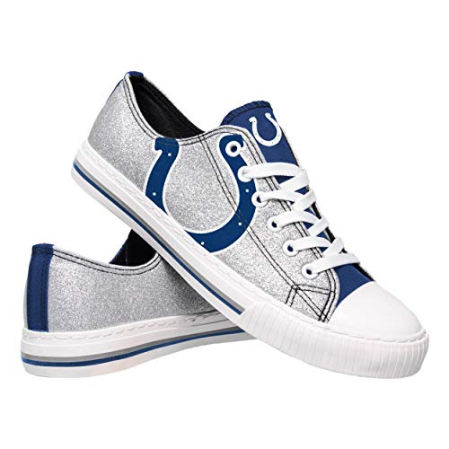 FOCO NFL Indianapolis Colts Womens Ladies Glitter Low Top Canvas Sneaker Shoesladies Glitter Low Top Canvas Sneaker Shoes, Team Color, 8/Large