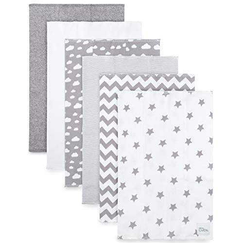 Burp Cloths 6 Pack Large 100% Cotton Washcloths Double Layered Burping Cloths Extra Absorbent and Soft (Grey Pattern) - Comfy Cubs