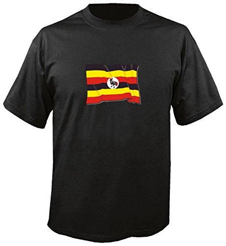 T-Shirt für Fußball LS185 Ländershirt M Mehrfarbig Uganda - Uganda Fahne/Flagge - Fanshirt - Fasching - Geschenk - Fasching - Sportshirt schwarz