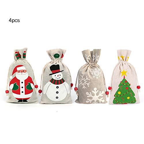 4 kerstcadeauzakjes met trekkoord, jutezakje adventskalender om te vullen, stoffen zakje geschenkzakje, jute zakje voor jutezak, jute zakje, sneeuwman, kerstman, sneeuwvlok