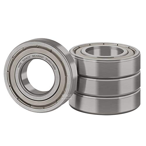 XiKe 4 Pcs 6206ZZ Double Metal Seal Bearings 30x62x16mm, Pre-Lubricated and Stable Performance and Cost Effective, Deep Groove Ball Bearings.