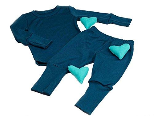 Green Rose Baby und Kinder Pyjamas aus 100% Natürlich Merino Wolle (98-104, 2-3 Jahre, Blau)