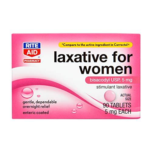 Rite Aid Women's Stimulant Laxative Tablets, Bisacodyl USP, 5 mg - 90...
