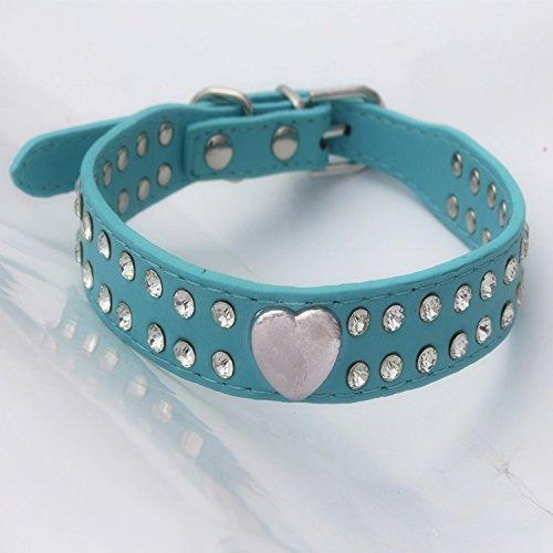 SZMYLED Hundehalsband mit Strasssteinen, verstellbar, weiches Leder, Hundehalsband, glitzernde Kristalldiamanten, leichtes Halsband für kleine und mittelgroße Hunde, Größe S, Blau
