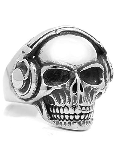 RUGGED steel Stainless steel skull ring. silver