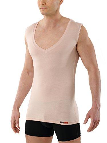 ALBERT KREUZ Camiseta Interior Invisible Color Carne para Hombre con Cuello de Pico Extra-Profundo, sin mangay y de Micromodal elálstico Muy Suave y Ligero M