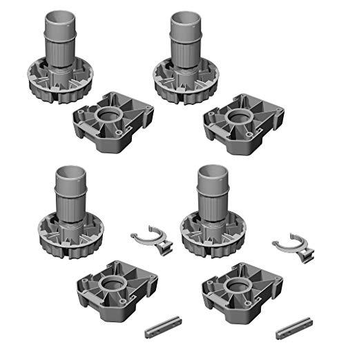 Gedotec Möbelfüße Küchen-Unterschrank Sockelfüße höhen-verstellbar Kunststoff schwarz | Stellfuß mit Höhe 100 mm | KOMPLETT SET | Verstellfüße 500 kg Tragkraft | 4er Set - Schrank-Füße für Möbel