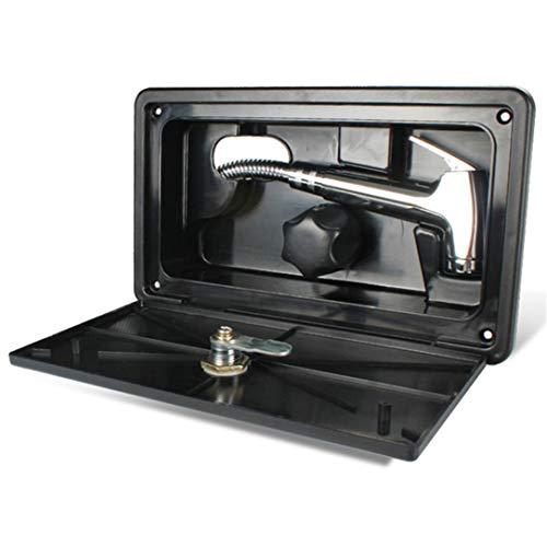 ZSDFW Kit de caja de ducha externa, accesorios de ducha al aire libre para RV, caravana, autocaravana, autocaravana, manguera de grifo de ducha, color negro