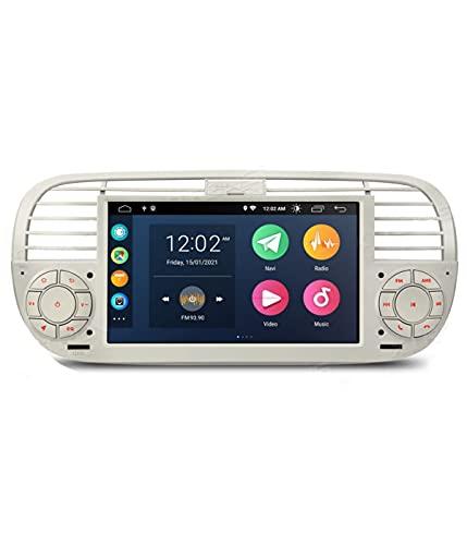 ESTOCK1 ANDROID 10.0 autoradio navigatore Carplay per Fiat 500 Fiat Abarth 500 2007-2015 wi-fi GPS 7  USB WI-FI Bluetooth Mirrorlink color beige bianco CAR TABLET wi-fi radio 500
