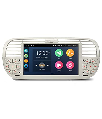 ESTOCK1 ANDROID 10.0 autoradio navigatore Carplay per Fiat 500 Fiat Abarth 500 2007-2015 wi-fi GPS 7' USB WI-FI Bluetooth Mirrorlink color beige/bianco CAR TABLET wi-fi radio 500