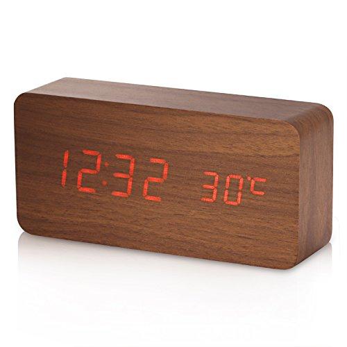 Sveglia Digitale, YOKKAO Orologio da Tavolo con Attivazione Sonora con Display di Temperatura/ Data/ Tempo (Colore di Legno)