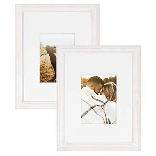 Kate and Laurel Bordeaux Farmhouse Gallery Wall Frames, 16x20 matted to 8x10, Set of 2, White, Chic Photo Frames for Wall