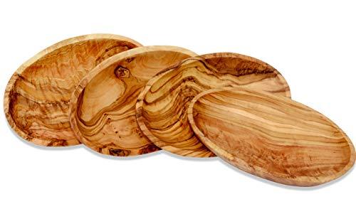 Figura Santa 4 Ovale Schalen LIDO - aus Olivenholz, Circa 10 x 6 cm. Holzschale, Teller, Aperifivschälchen, Dipschale. Jedes Schälchen ist EIN Unikat.