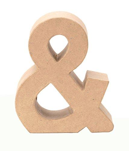 Glorex 6 2029 127 - Papp - Zeichen &, aus brauner Pappe, ca. 17,5 X 5,5 cm groß, zum bemalen und bekleben, für Serviettentechnik und Décopatch, ideal als Dekoration