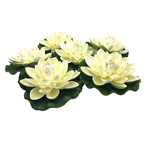 NAVADEAL 6PCS Artificial Floating Foam Lotus Flowers, with Water Lily Pad Ornaments, Ivory White, Perfect for Patio Koi Pond Pool Aquarium Home Garden Wedding Party Holiday Special Event Decorations