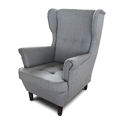 Ohrensessel Sessel King - Lounge Sessel mit Armlehnen - Retro Stuhl aus Stoff mit Holz Füßen - Polsterstuhl für Esszimmer & Wohnzimmer (Grau (Inari 91), ohne Hocker)